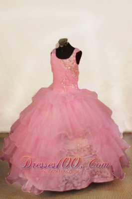 Misty Rose Beading Ball Gown for Pageant Ruffles Sequin