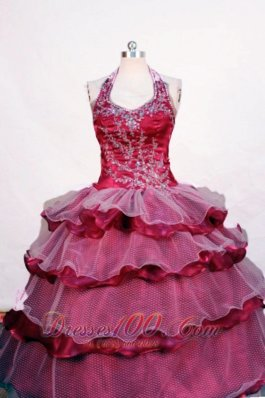 Embroidery Burgundy Pageant Dresses Beading Tiered Halter