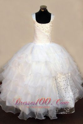 Beading Sequin White Little Girl Birthday Gowns Square