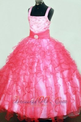 Ruffles Beading Formal Pageant Dresses Hot Pink Square