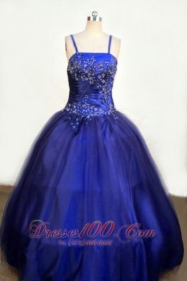 Beading Dark Blue Junior Miss Pageant Dresses Straps
