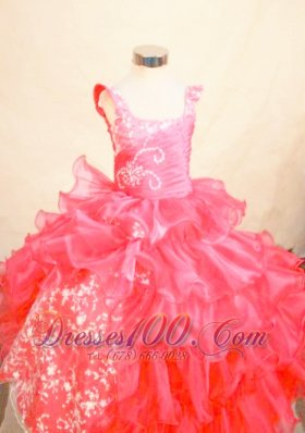 Coral Red Appliques Pageant Dresses 2013 for Little Girls