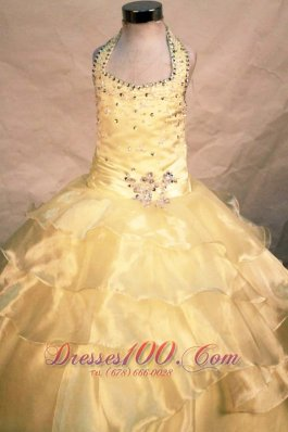 Customize Light Yellow Halter Pageant Gowns for Glitz