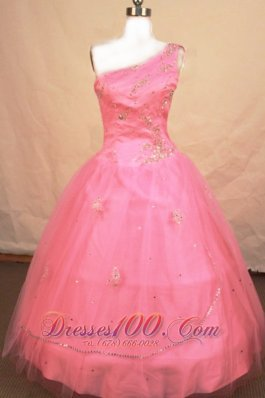 Ball gown One Shoulder Light Pink Pageant Dresses Beading