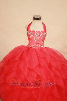Halter Ruffles Ball gown Plus Size for Little Girls Pageant