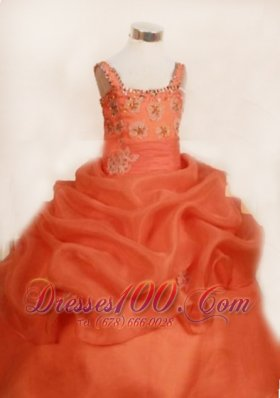 Ruffles Appliques Pageant Gowns Orange Red Straps Special
