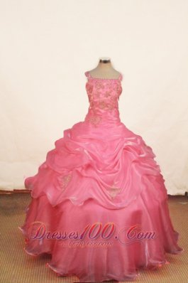 Rose Pink Junior Miss Pageant Dresses Ball Gown Pick-up