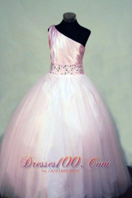 Belt Pageant Gowns Tulle One Shoulder Light Pink Crystal