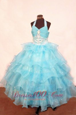 Layer Halter Aqua Ball gown for Sweet Fifteen Appliques