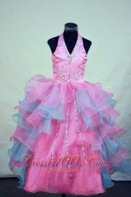 Halter V-Neck Beading Pageant Dresses Colorful Ruffles