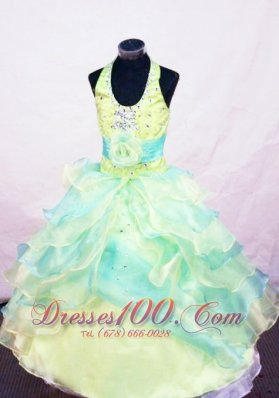 Kelly Handle Flowers Pageant Gowns Beading Colorful Halter