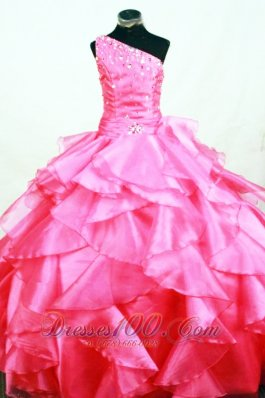Ruffles Hot Pink One Shoulder Beading Pageant Dresses