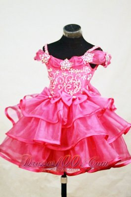 Beading Off the Shoulder Little Girl Pageant Dresses Red