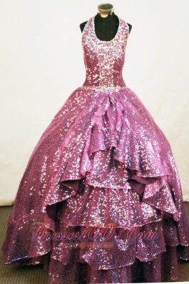 Sequins A-line Halter Fuchsia Little Girl Pageant Dresses