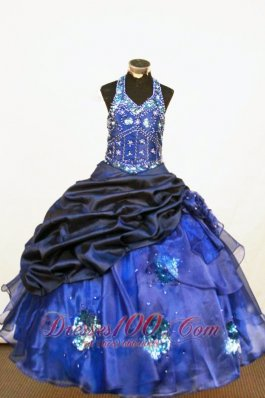 Beading Beautiful Pageant Dresses Ball gown Halter Blue