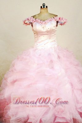 Girl Pageant Dresses Beading Luxurious Off the shoulder Pink
