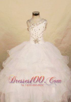 Beautiful White One Shoulder Beading Girl Pageant Dresses
