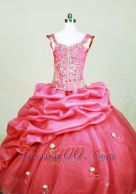 Square Girl Pageant Dresses Beading Sweet Hot Pink