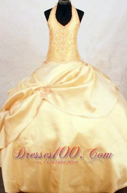 Beautiful Halter Beading LIL Girl Pageant Dresses Gold