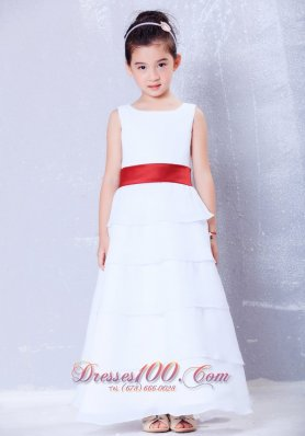 Cheap White and Red Scoop Little Girls Formal Dresses