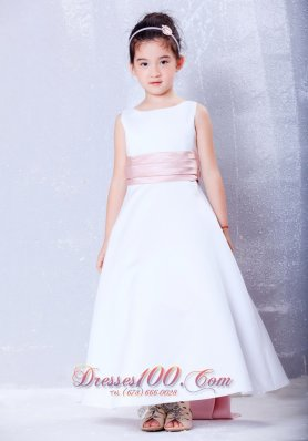 Simple White and Pink Ankle-length Little Girls Formal Dresses