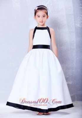 Cheap White and Navy Blue A-line Bow Little Girl Dress