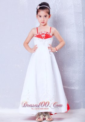 Little Girl Dress White and Red Straps Embroidery Satin