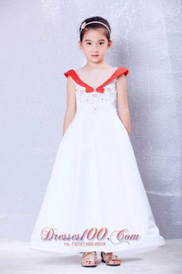 White and Red A-line Ankle-length Satin Little Girl Dress