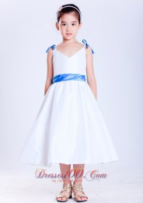 White and Blue V-neck Bows Tea-length Child Pageant Dresses