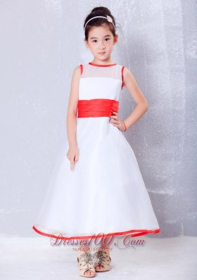 Child Pageant Dresses White and Red A-line Scoop Ankle-length