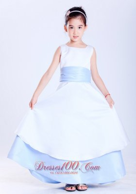 Child Pageant Dresses White and Light Blue A-line Scoop Sash