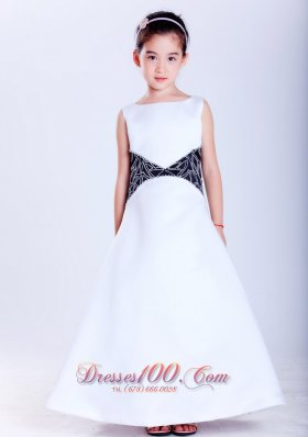 White and Black Scoop Satin Flower Girl Pageant Dress