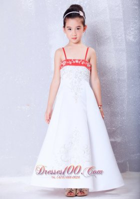 Wine Red Flower Girl Pageant Dress Straps Embroidery