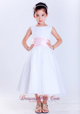 Pink Sain Scoop Tea-length Flower Girl Pageant Dress