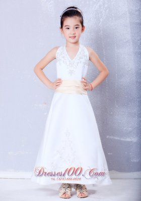 Champagne Halter Embroidery Satin Infant Pageant Dresses