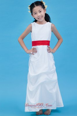 Infant Pageant Dresses Red ScoopTaffeta Belt