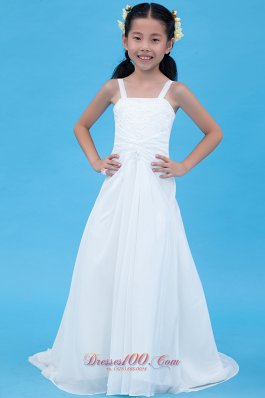 Child Pageant Dresses White A-line Straps Brush Train