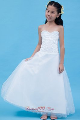 Whites Sweetheart Tulle Strapless Child Pageant Dresses