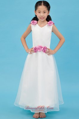 Ankle-length Lavender Flowers Child Pageant Dresses