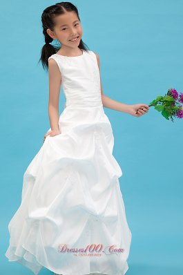White Scoop Child Pageant Dresses Taffeta Appliques