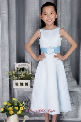 Light Blue Beauty Pageants Dresses Scoop Satin Belt