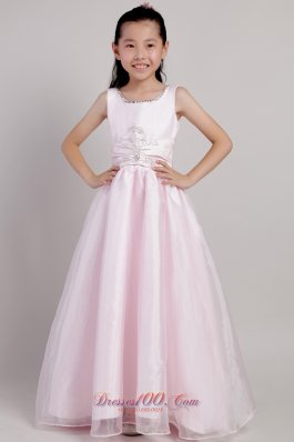 Pink Ankle-length Beading Beauty Pageants Dresses