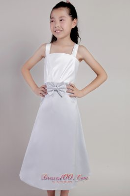 Beauty Pageants Dresses Silver Straps Tea-length Bow