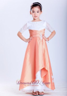 Mutil-colored Scoop Appliques Little Flower Girl Dress