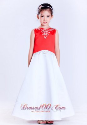Embroidery White and Red Flower Girl Dress Satin
