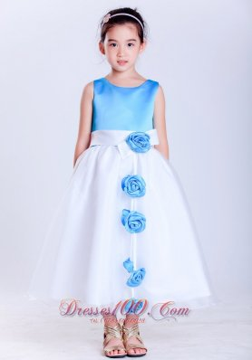 Baby Blue Hand Made Flowers White Flower Girl Dress