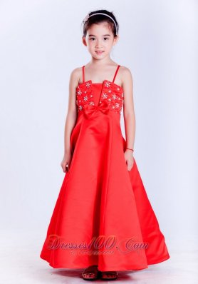 Straps Beading Bow Red Pageant Girl Flower Dresses