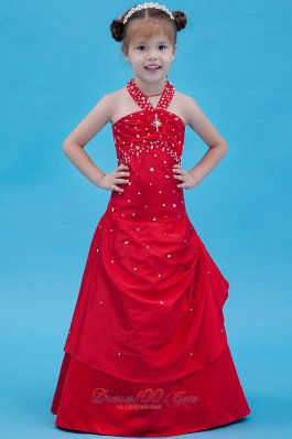 Beading Halter Red Flower Girl Little Dresses
