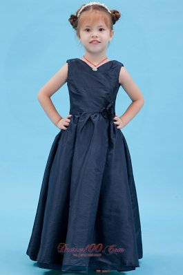 V Neck Navy Blue Little Girl Flower Dress Taffeta