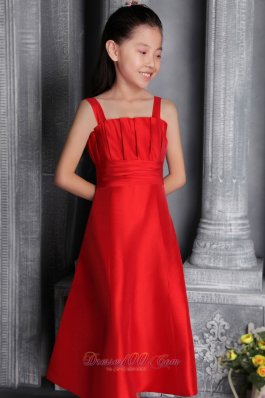 Satin Ruched Red Straps Flower Little Girl Dresses